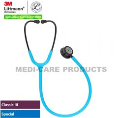 3M Littmann  Classic III Monitoring Stethoscope, Smoke Chestpiece, Turquoise Tube, Pink Stem and Smoke Headset, 5872