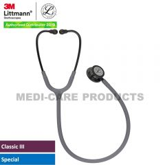 3M Littmann  Classic III Monitoring Stethoscope, Smoke Chestpiece, Gray Tube, Violet Gray Stem and Smoke Headset, 5873