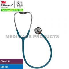 3M Littmann  Classic III Monitoring Stethoscope, Mirror Chestpiece, Caribbean Blue Tube, Orange Stem and Stainless Headset, 5874
