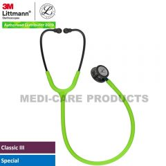 3M Littmann  Classic III Monitoring Stethoscope, Smoke Chestpiece, Lime Green Tube, Blue Stem and Smoke Headset, 5875