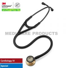 3M Littmann Cardiology IV Stethoscope, Black Tube, Brass-Finish Chestpiece, Stem and Headset, Special Edition, 6164