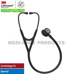 3M Littmann Cardiology IV Diagnostic Stethoscope, Black-Finish Chestpiece, Black Tube, Red Stem and Black Headset, 6200