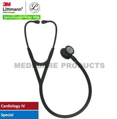 3M Littmann Cardiology IV Diagnostic Stethoscope, Black-Finish Chestpiece, Black Tube, Blue Stem and Black Headset, 6201