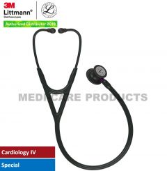 3M Littmann Cardiology IV Diagnostic Stethoscope,  Black-Finish Chestpiece, Black Tube, Violet Stem and Black Headset, 6203