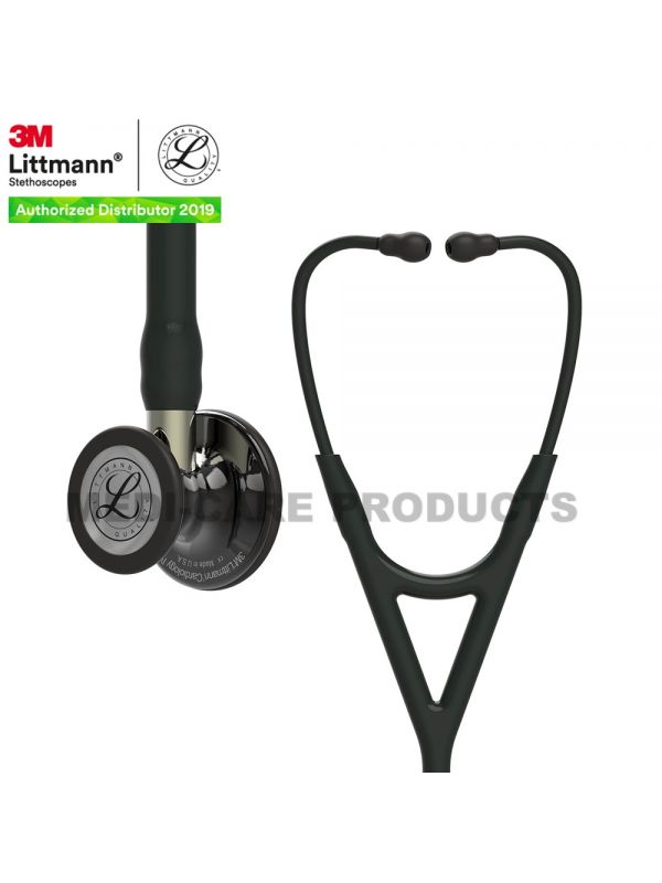 3M Littmann Cardiology IV Diagnostic Stethoscope, High Polish Smoke-Finish Chestpiece, Black Tube,  Champagne Stem and Black Headset, 6204