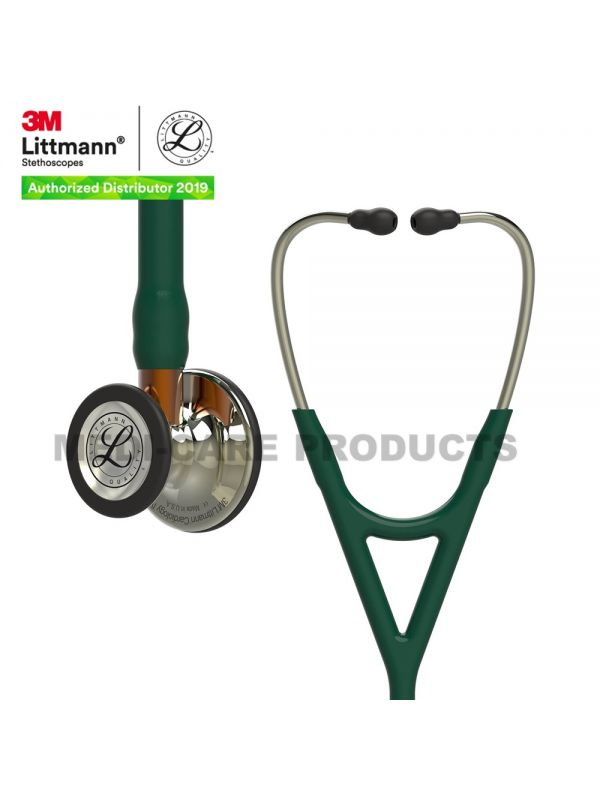 3M Littmann Cardiology IV Diagnostic Stethoscope, High Polish Champagne-Finish Chestpiece, Hunter Green Tube, Orange Stem and Champagne Headset, 6206