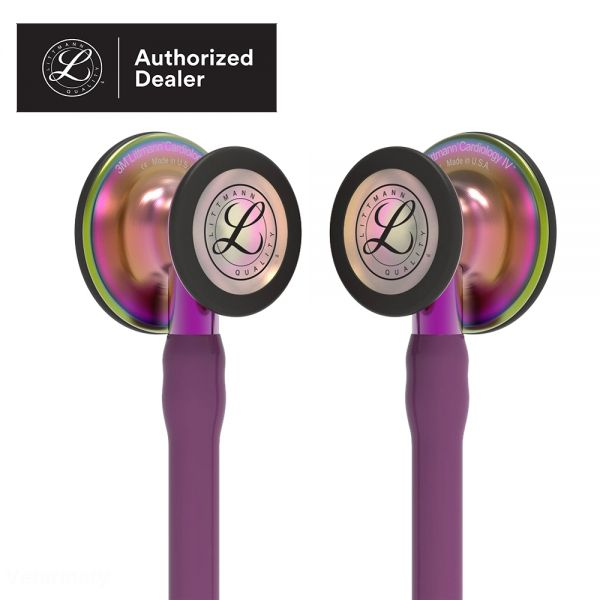 3M Littmann Cardiology IV Diagnostic Stethoscope, Rainbow-Finish Chestpiece, Plum Tube, Violet Stem and Black Headset, 6205