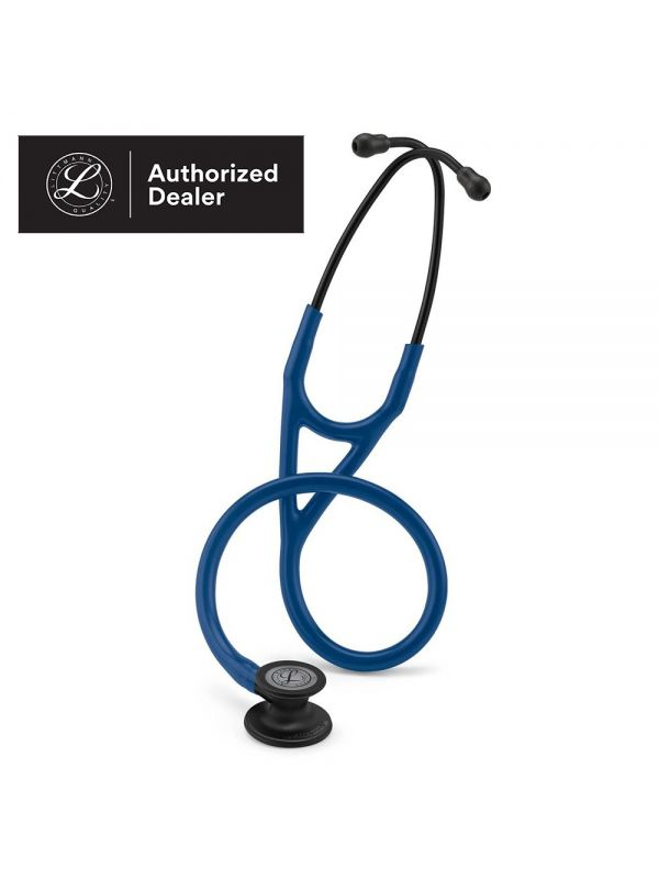 3M Littmann Cardiology IV Stethoscope, Navy Blue Tube, Black-Finish Chestpiece, Stem and Headset, Special Edition, 27 Inch, 6168