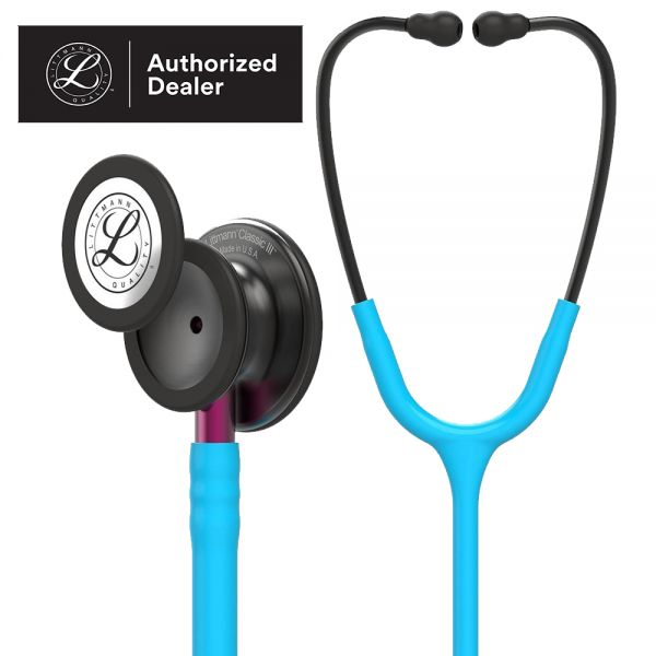 3M™ Littmann® Classic III™ Monitoring Stethoscope, Smoke Chestpiece, Turquoise Tube, Pink Stem and Smoke Headset, 27 inch, 5872