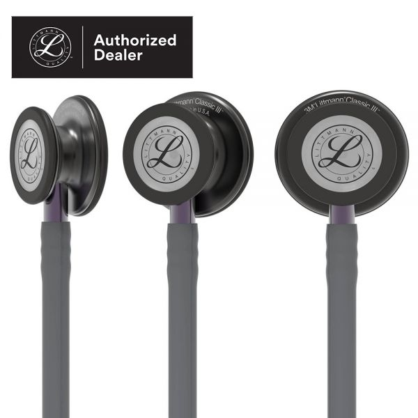 3M Littmann Classic III Monitoring Stethoscope, Smoke Chestpiece, Gray Tube, Violet Gray Stem and Smoke Headset, 27 inch, 5873