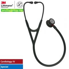 3M™ Littmann® Cardiology IV™ Diagnostic Stethoscope, Black-Finish Chestpiece, Black Tube, Red Stem and Black Headset, 27 inch, 6200