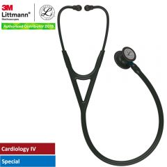 3M™ Littmann® Cardiology IV™ Diagnostic Stethoscope, Black-Finish Chestpiece, Black Tube, Blue Stem and Black Headset, 27 inch, 6201