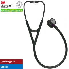 3M™ Littmann® Cardiology IV™ Diagnostic Stethoscope, Black-Finish Chestpiece, Black Tube, Violet Stem and Black Headset, 27 inch, 6203