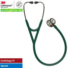 3M™ Littmann® Cardiology IV™ Diagnostic Stethoscope, High Polish Champagne-Finish Chestpiece, Hunter Green Tube, Orange Stem and Champagne Headset, 27 inch, 6206