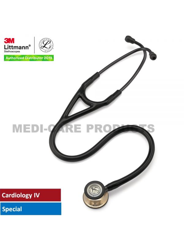 3M™ Littmann® Cardiology IV™ Stethoscope, Champagne-Finish Chestpiece, Black Tube, 27 inch, 6179