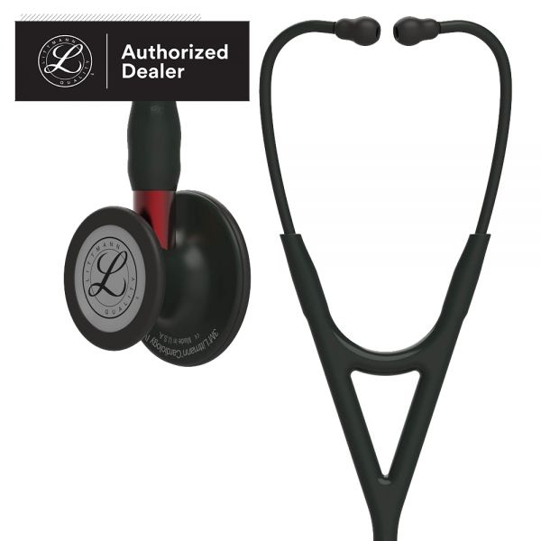 3M Littmann Cardiology IV Diagnostic Stethoscope, Black-Finish Chestpiece, Black Tube and Headset, Red Stem, 27 inch, 6200